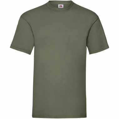 5-pack maat l - olijf groene t-shirts met ronde hals 165 gr valueweig