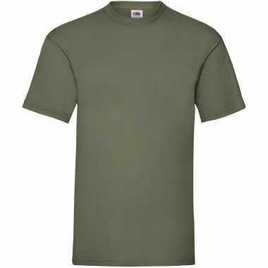 5-pack maat m - olijf groene t-shirts met ronde hals 165 gr valueweig