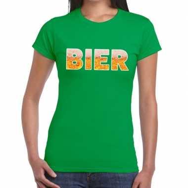 Bier fun t-shirt groen voor dames