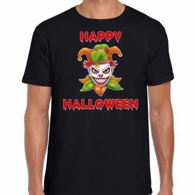 Halloween joker groen horror shirt zwart voor heren
