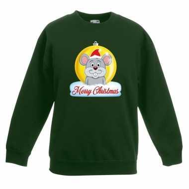 Kersttrui muis kerstbal groen voor jongens en meisjes