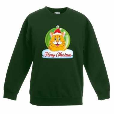 Kersttrui oranje kat / poes kerstbal groen voor jongens en meisjes