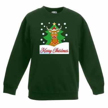 Kersttrui rudolf voor kerstboom groen voor jongens en meisjes