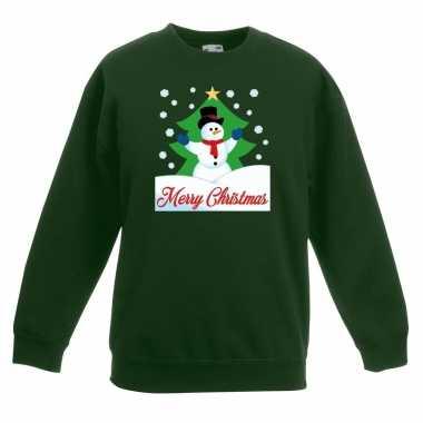 Kersttrui sneeuwman voor kerstboom groen voor jongens en meisjes