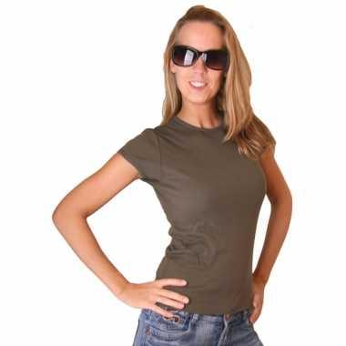 Kleding dames t-shirt bella donkergroen