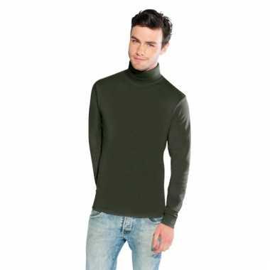 Olijf groene turtle-neck t-shirt voor heren