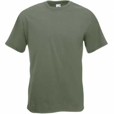 Set van 2x stuks basis heren t-shirt olijf groen met ronde hals, maat: l (40/52)