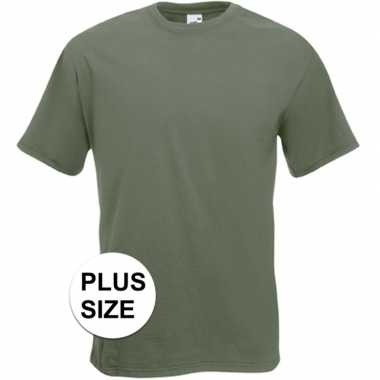 Set van 2x stuks grote maten basis heren t-shirt olijf groen met ronde hals, maat: 3xl (46/58)