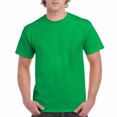 Set van 2x stuks voordelig fel groene t-shirts voor heren, maat: l (40/52)