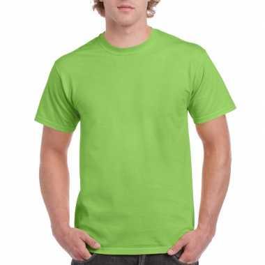 Set van 2x stuks voordelig lime groen t-shirts voor heren, maat: l (40/52)