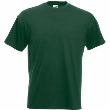 Set van 3x stuks basis heren t-shirt donker groen met ronde hals, maat: l (40/52)