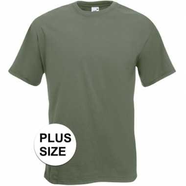 Set van 3x stuks grote maten basis heren t-shirt olijf groen met ronde hals, maat: 3xl (46/58)