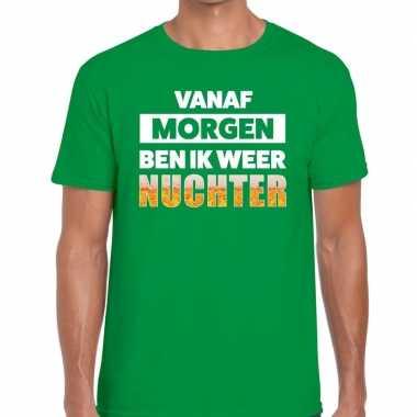 Vanaf morgen ben ik weer nuchter fun t-shirt groen voor heren